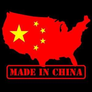 In CHINA Sticker USA Chinese American Flag logo decal
