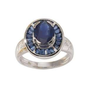 18ct White Gold Sapphire & Diamond Ring Size 6.5 Jewelry