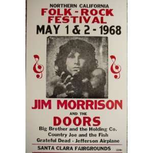 Folk Rock Festival with The Doors and Jim Morrison Poster
