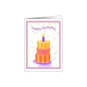 30 Years Old Happy Birthday Stacked Cake Lit Candle Card