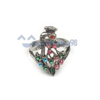 Fashion Antique Color Crystal Peacock Ring Jewelry