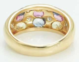14K Gold Pink Yellow & Blue Sapphires Diamond Ring Band Size 6