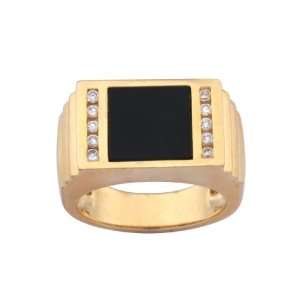 18k Yellow Gold Plated Sterling Silver Onyx and Cubic Zirconia Mens