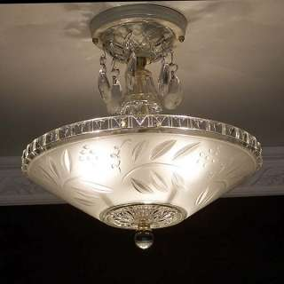 1930s STELLAR vintage ART DECO glass Ceiling Light Fixture CHANDELIER