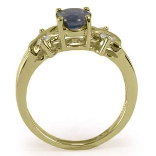 18K SOLID GOLD SAPPHIRE DIAMOND RING 1.70CT. Item # R1283