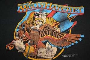 vtg 70s 1978 MOLLY HATCHET shirt * concert tour * THIN