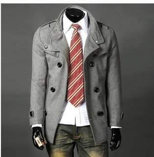 New Men Slim Warm Coat Jacket Stylish Woolen Double Pea Trench Topcoat