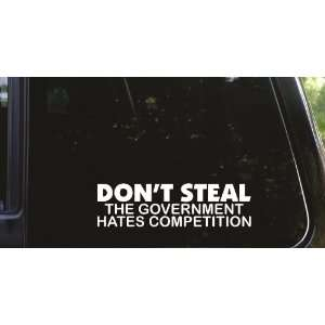 The government hates competition funny die cut vinyl decal / sticker