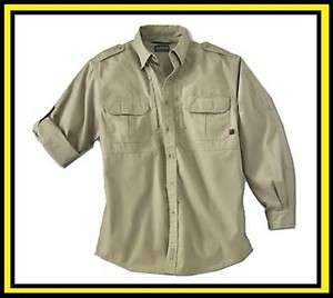 Woolrich Mens Elite Long Sleeve Shirt Khaki XXL