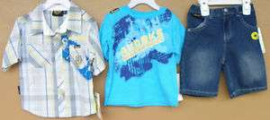 Akademiks Infant Boys Urban Wear Button Front T Shirt Jean Shorts 3pc
