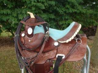 12DARK OIL LEATHER Western Trail Barrel Racer PONY Saddle HORSE