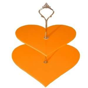 2 Tier Yellow Acrylic Heart Cake Stand 19cm 23cm Overall