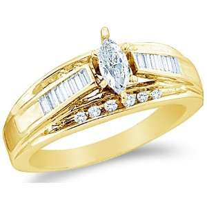 Size   13   14k Yellow Gold Diamond Engagement Wedding Solitaire with