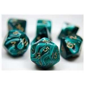 RPG Dice Set (Silk Green) role playing game dice + bag Toys & Games