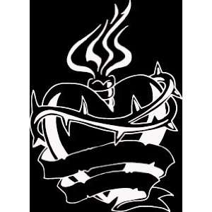 HRT (399) 8 white vinyl decal flaming with banner and barbed wire