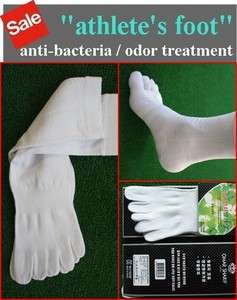 Quality WHITE five toe socks shoes Anti Bacteria / Odor ATHLETES FOOT