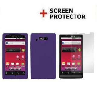 Rubber Purple Gel Skin Case+ LCD Motorola Triumph WX435