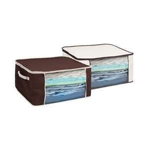 Dorm Bedding Storage Box   Brown & Cream