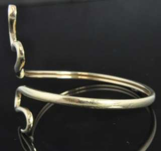 Estate Vintage 14K Yellow Gold Wrapping Snake Bangle Cuff Bracelet