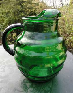 Art Deco Ringed Forest Green Ball Pitcher Whirly Twirly Anchor Hocking