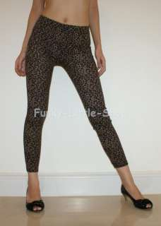 brown leopard print leggings tight pants XS/S pt346 NEW
