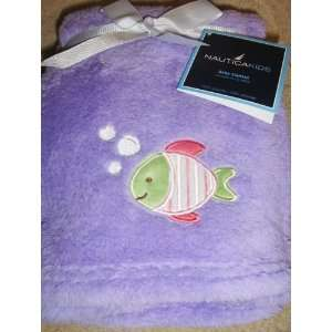 Kids Baby Girl Soft Plush Blanket Purple with Fish Applique Baby