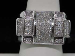 MENS WHITE GOLD DIAMOND PINKY RING PAVE BAND HUGE FACE