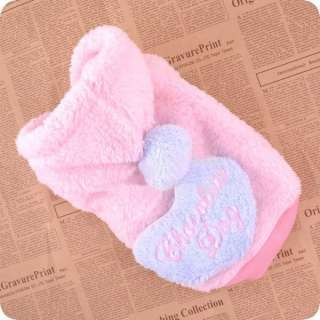 PINK LOVE HEART WARM FLEECE DOG Clothes with snacks BAG PET COAT XS,S