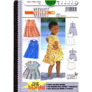 Burda 3023 Sewing Pattern Baby Toddlers Girls Dress Size