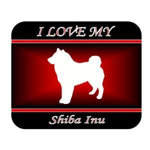 I Love My Shiba Inu Dog Mouse Pad   Red Design