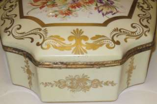 Large Antique Porcelain Dresser Jewelry Box Casket