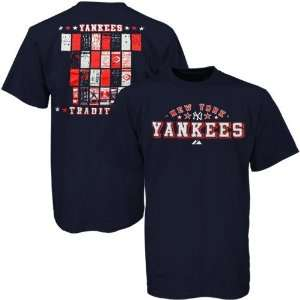 Majestic New York Yankees Navy Blue Ticket History T shirt