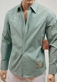 New Raw 7 Tigers Button Front L/S Mens Shirt Green S *