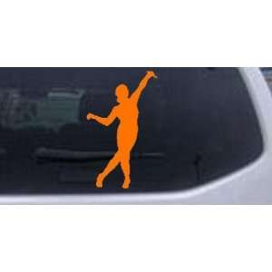 Dancer Silhouettes Car Window Wall Laptop Decal Sticker    Orange 4in