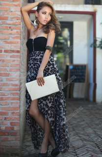 Women Chiffon Bustier Party Maxi Cocktail Evening Club Leopard Pattern