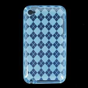 Crystal Clear Transparent Blue Checker TPU Case For Apple