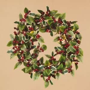 Holly Pre Lit Warm White LED Battery Operated Wreath