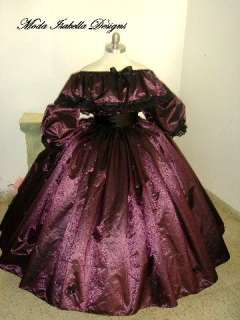 CUSTOM SZ TAFFETA PURPLE COSTUME CIVIL WAR BALL GOWN **