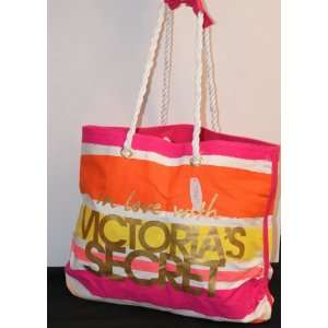 VICTORIAS SECRET PINK TOTE BAG BEACH BAG SHOPPER STRIPES