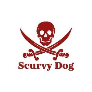 Scurvy Dog Skull BURGANDY Vinyl window decal sticker