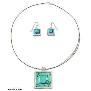 Dichroic art glass jewelry set, Caribbean Window 18.1 L
