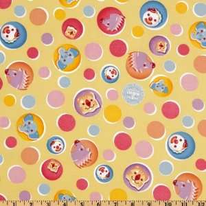 44 Wide Ringling Brothers Baby Circus Circles Yellow Fabric By The
