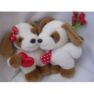Twin Puppy Dog Valentine Plush Toy 11 Collectible
