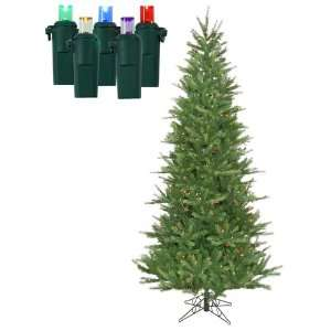 Pre Lit Tiffany Spruce Slim Artificial Christmas Tree   Multi LED