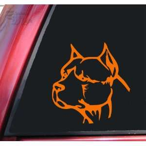 Pit Bull Pitbull Head #2 Vinyl Decal Sticker   Orange