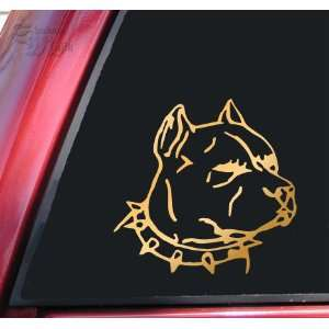 Pit Bull Pitbull Head #1 Vinyl Decal Sticker   Mirror Gold