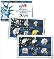 2004 11 Coin US Proof Set S w/COA Blue Mint Box P04