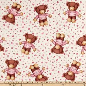44 Wide Baby Love Teddy Bear Pink Fabric By The Yard