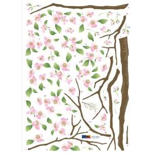 Reusable Easy Wall Applique Stickers   Apple Cherry Blossoms Branch