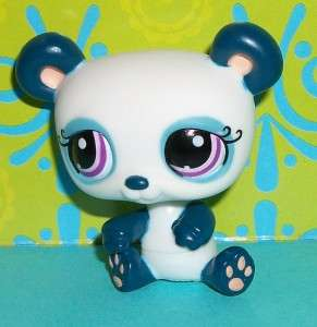 Pet Shop~#1021 BLUE BLUEBERRY PANDA BEAR Purple Eyes~G119 LPS